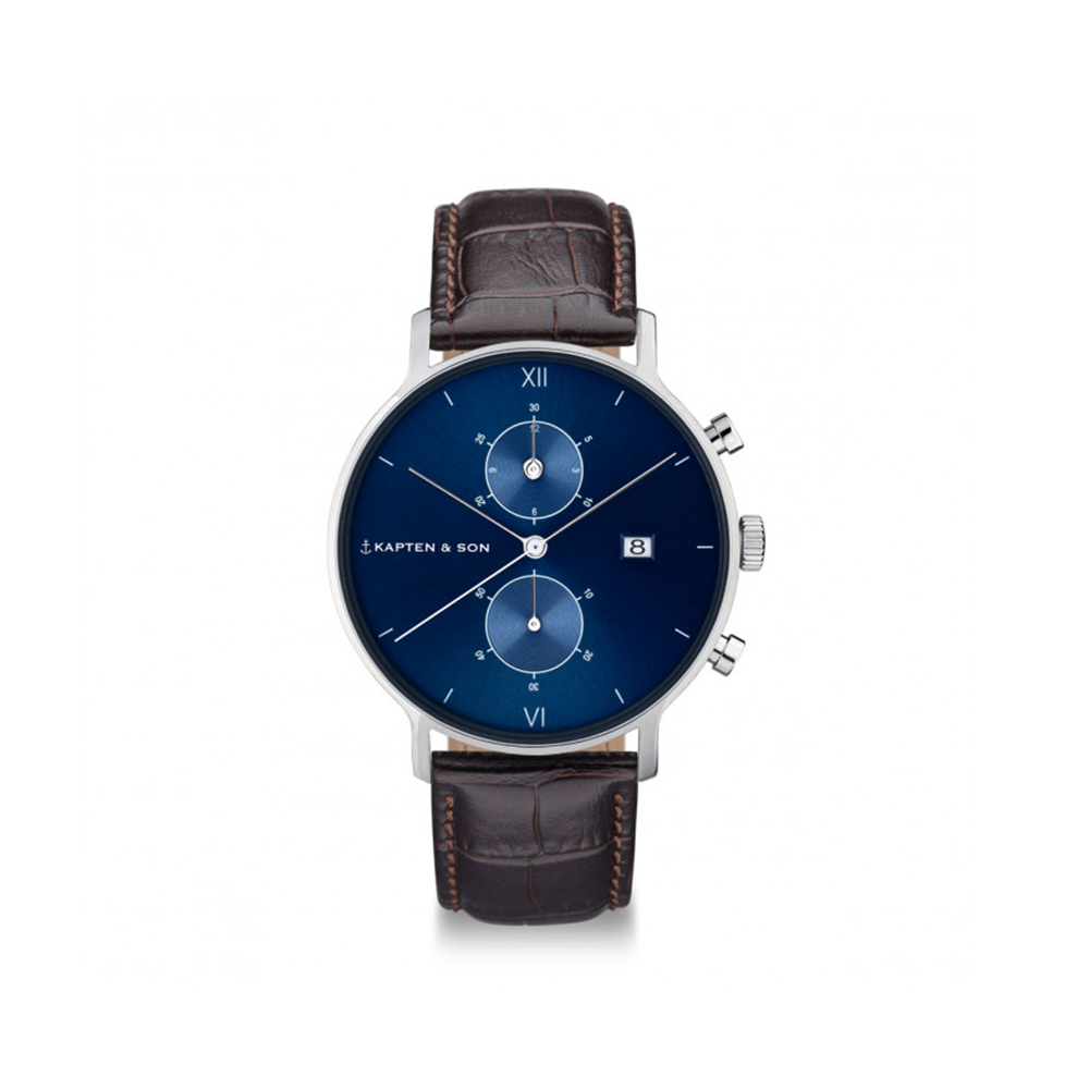 Damano chrono Silver Blue Dark Brown Croco Leather